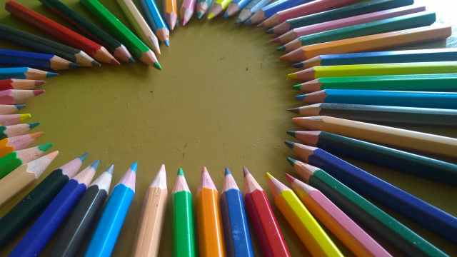 art materials close up color pencil colors
